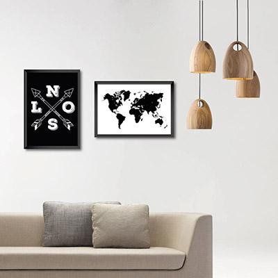 Kit Conjunto 2  Quadros Decorativos Norte, Sul, Leste, Oeste 20x30