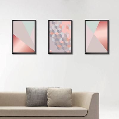 Kit Conjunto 3 Quadros Decorativos Triângulos e Quadrados