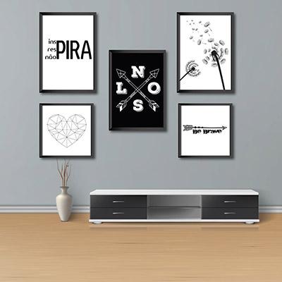 Kit Conjunto 5 Quadros Decorativos Inspira, Respira não pira  3  20x30  2 20x20