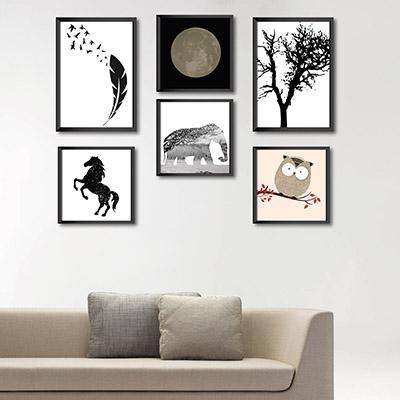 Kit Conjunto 6  Quadros Decorativos Elefante, Cavalo e Arvore  2 20x30cm  4  20x20cm