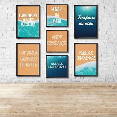 Kit Conjunto 7  Quadros Decorativos Ande Descalços, Desfrute da vida