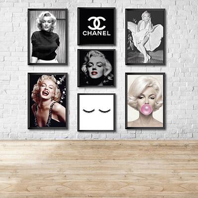 Kit Conjunto 7  Quadros Decorativos Chanel  4 20x30 3 20x20