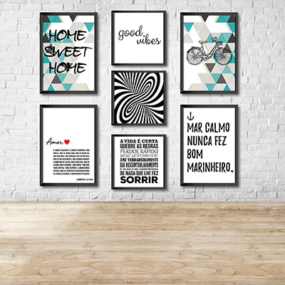 Kit Conjunto 7  Quadros Decorativos  Good Vibes  4 20x30cm 3  20x20cm