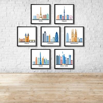 Kit Conjunto 7  Quadros Decorativos Torres Das Cidades  20x20