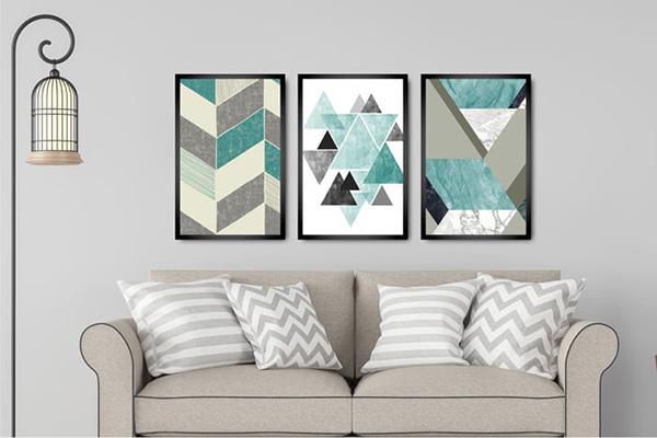 Kit Quadros Para Sala Quarto Triangulos Formas