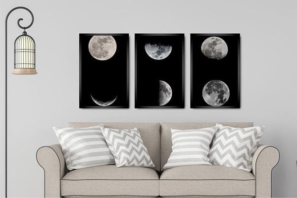 Kit 3 Quadros Fases da Lua