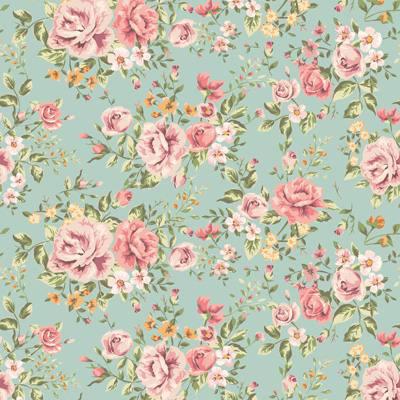 Papel de Parede Estampa Floral com rosas e folhas fundo azul
