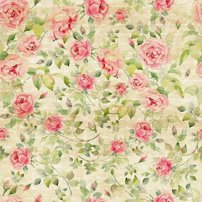 Papel de Parede Floral Vintage com rosas e fundo com escrita