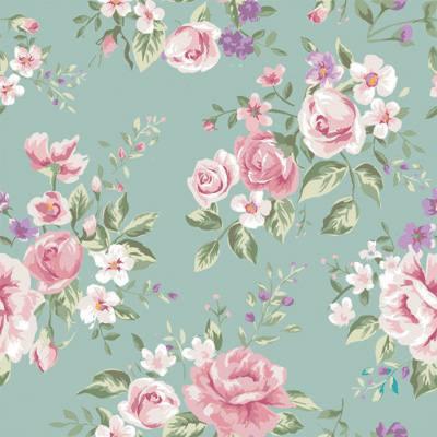 Papel de Parede Estilo Floral com rosas e flores roxas fundo verde agua