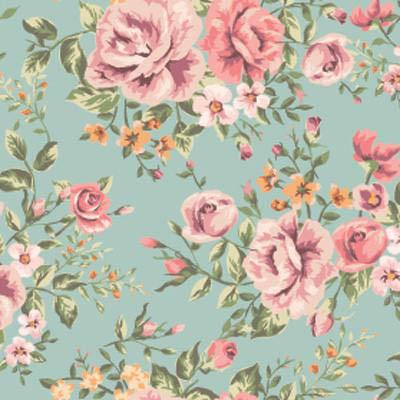 Papel de Parede Floral Classico Rosa com fundo azul
