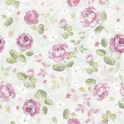 Papel de Parede Rosas Com folhas verdes Fundo claro