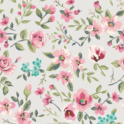 Papel de Parede com Rosas e Flores com fundo claro