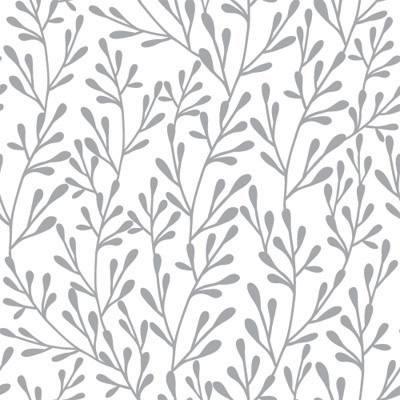 Papel de Parede Floral Galhos Cinza fundo branco