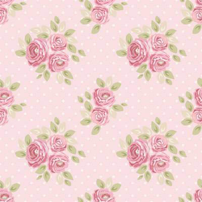 Papel de Parede Floral de Rosas com fundo de bolinhas brancas