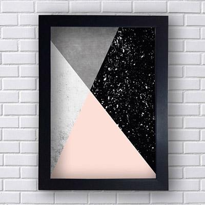 Quadro Triângulos Rosa e Preto
