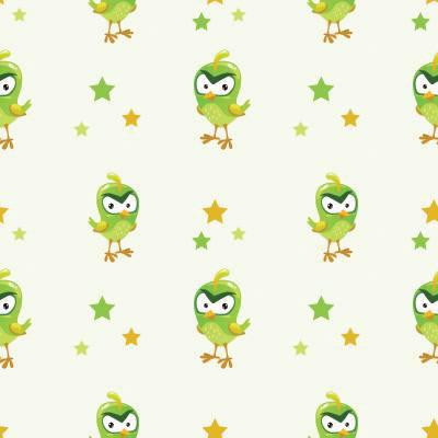 Papel de Parede Passarinho verde quarto menino