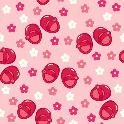 Papel de Parede para quarto de meninas sapatinhos e flores