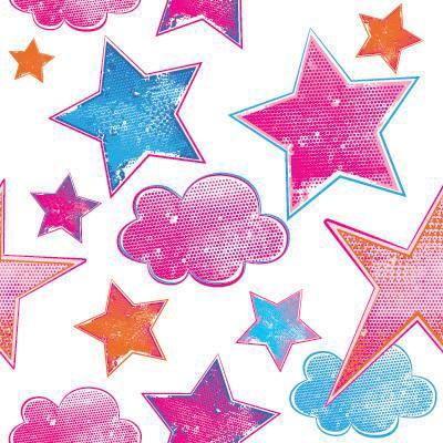 Papel de Parede Estrelinhas e Nuvens para quarto de meninas