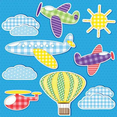 Papel de Parede para quarta Infantil Menino Balões e Aviões