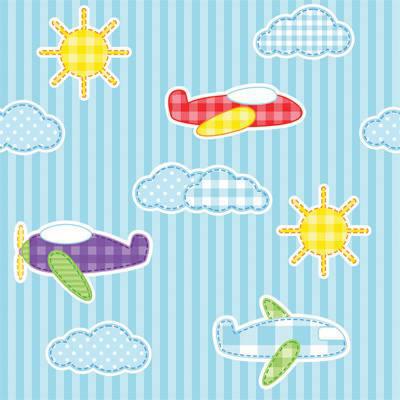 Papel de Parede Infantil para meninos listrado azul com sol e nuvens e avião