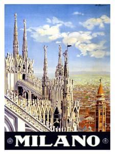 Placa Decorativa Milan Italia Cartão Postal PDV574