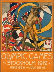 Placa Decorativa Poster Olimpiadas 1912 PDV547