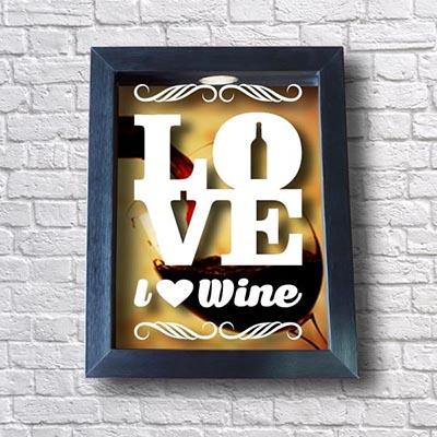 Quadro Porta Rolhas - I Love Wine
