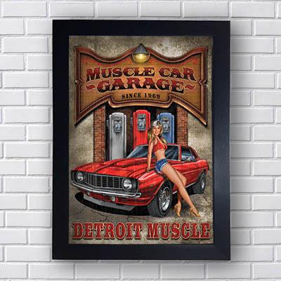 Quadro Carro Vintage Muscle Car Garage