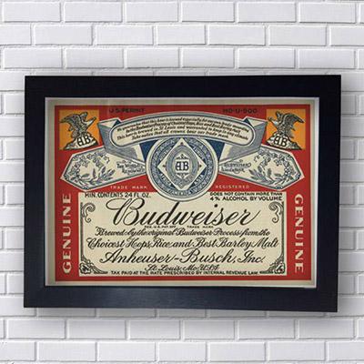 Placa Decorativa Budweiser Rotulo