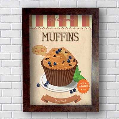 Quadro Decorativo Muffins Dairy Fresh