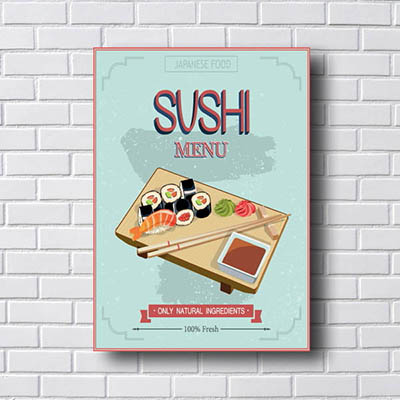 Quadro Decorativo Sushi Menu
