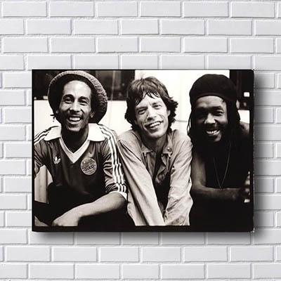 Quadro Bob Marley Mick Jagger e Peter Tosh