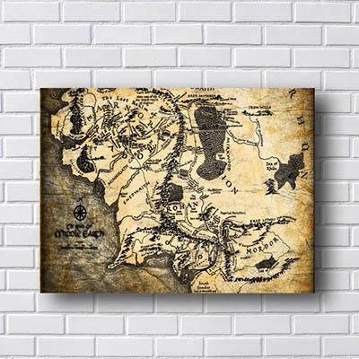 Quadro Mapa Terra Média Senhor dos Anéis
