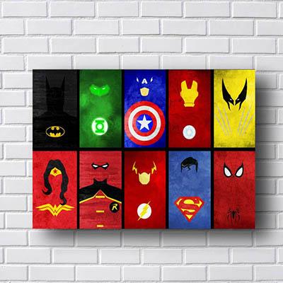Quadro Simbolos Super Herois