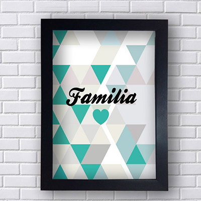Quadro Decorativo Familia com Triângulos