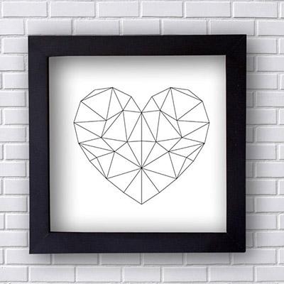 Quadro Decorativo Coração Geométrico