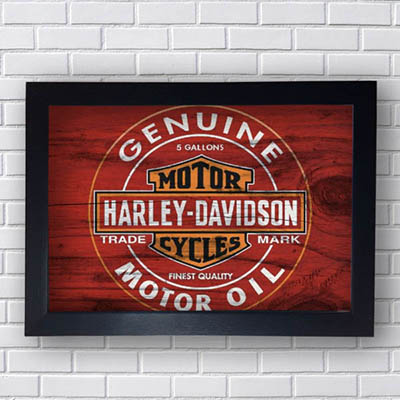 Quadro Decorativo Harley Davidson Motor Oil