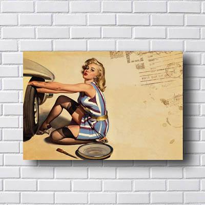 Quadro Decorativo Pin Up Woman Tires