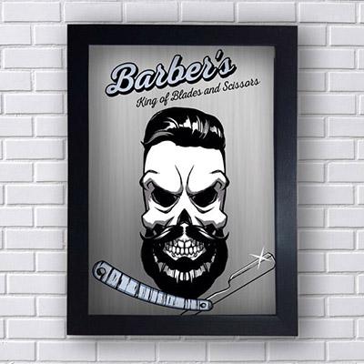 Quadro Barber Shop Caveira Cinza