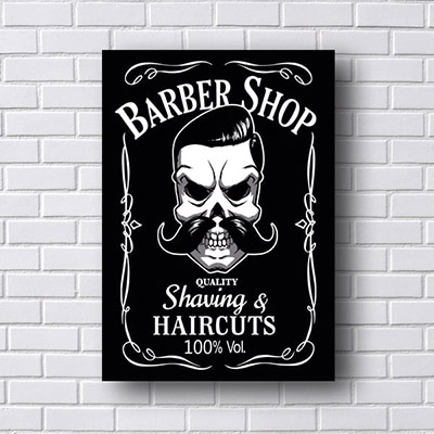 Quadro Barber Shop Caveira Preta