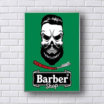 Quadro Barber Shop Caveira Verde