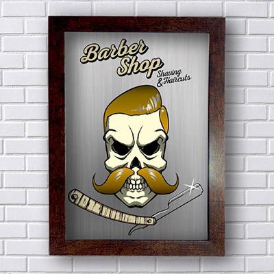 Quadro de Barbearia Skull Bigode e Cabelo