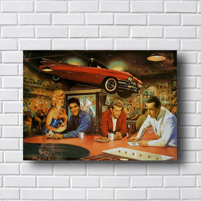 Quadro Decorativo Retrô Elvis e Marilyn