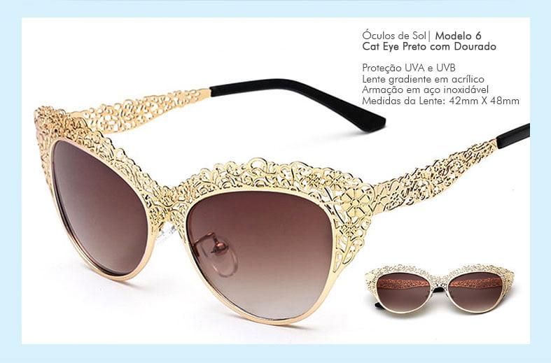 Óculos de Sol Cat Eye Renda Dourada