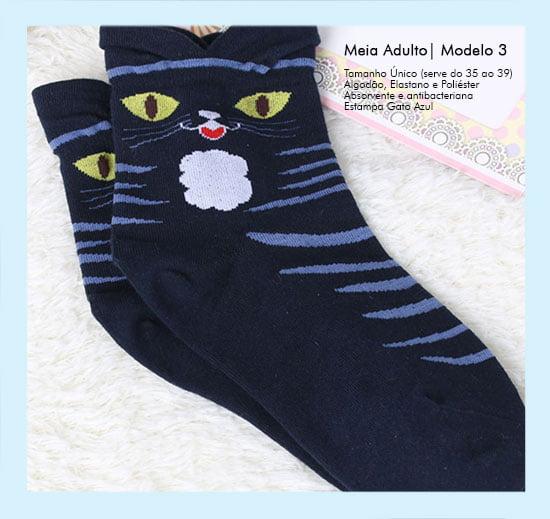 Meias Adulto Feminina Gato Azul
