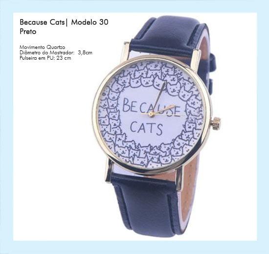 Relógio de Pulso Feminino Because Cats