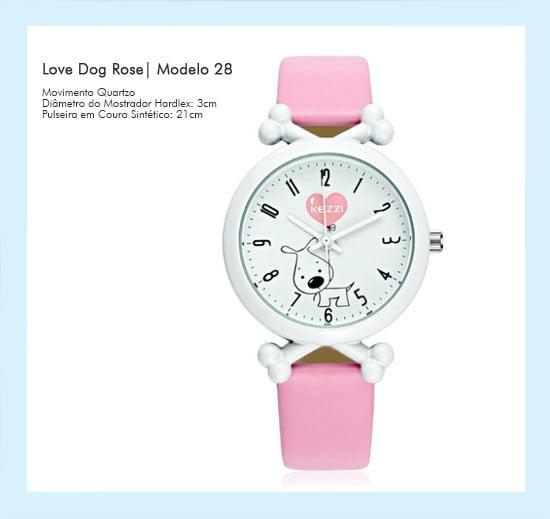 Relógio de Pulso Feminino Love Dog