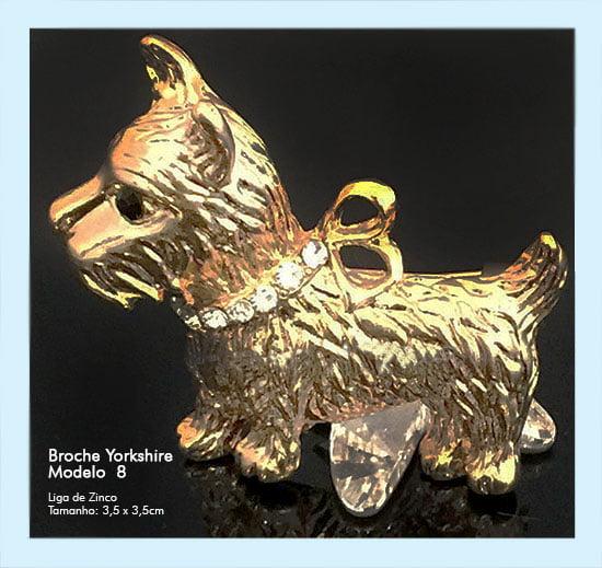Broches Cachorro Yorkshire Dourado