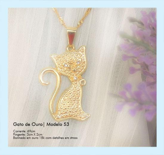 Semijoia gargantilha gato de ouro