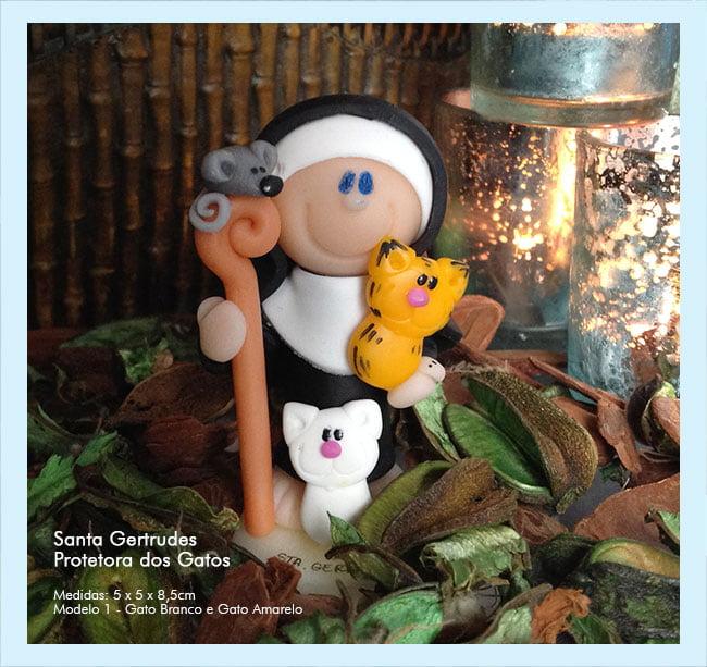 Santa Gertrudes em Biscuit | Protetora dos Gatos